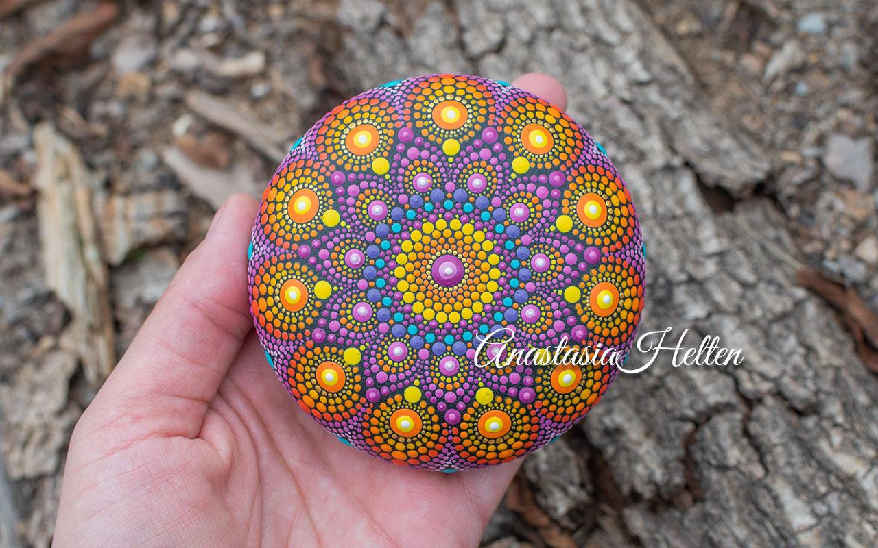 Mandala stone, hand painted
